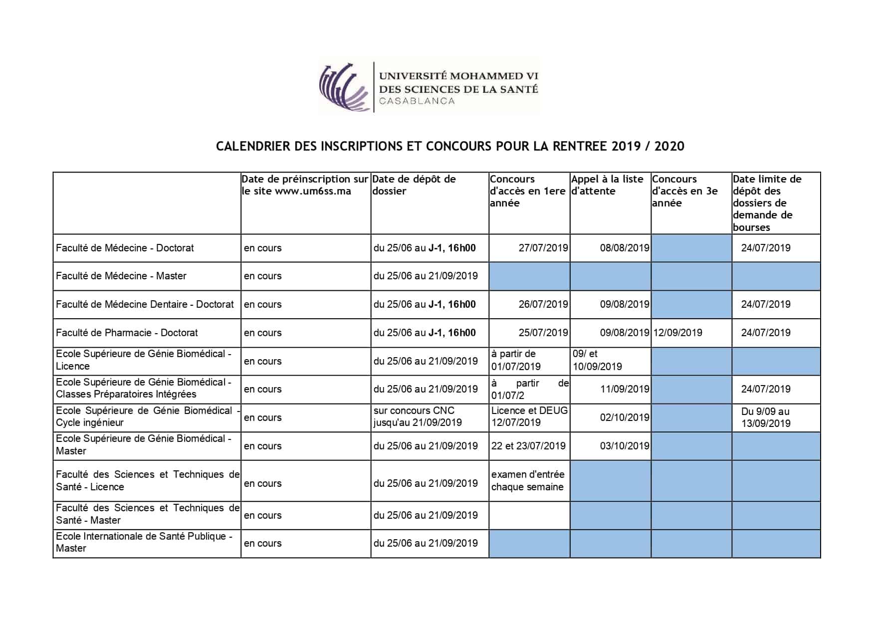 Concours Calendrier.Calendrier Des Inscriptions Et Concours Universite