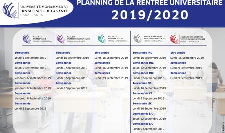 Planning de la rentrée 2019-2020