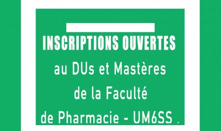Inscriptions ouvertes au DUs et Mastères de la Faculté de Pharmacie – UM6SS .