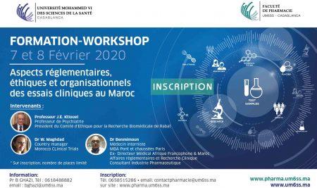 """Formation – workshop : """"Aspects réglementaires, éthiques et organisationnels des essais cliniques au Maroc"""""""