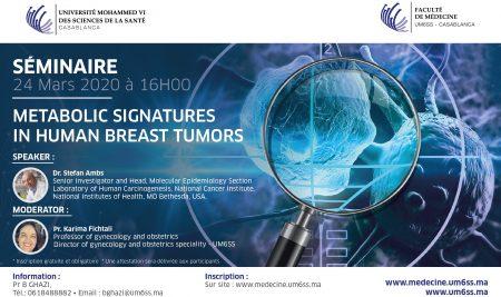 L'UM6SS organise un séminaire sur : « Metabolic signatures in human breast tumors »
