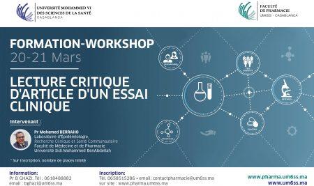 """Workshop """"Lecture Critique d'article d'un essai clinique"""" le 20 et 21 Mars 2020"""