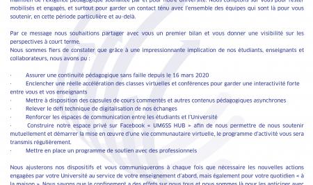 COMMUNIQUE DE LA PRESIDENCE A L'ATTENTION DES ETUDIANTS – BILAN D'ETAPE DU 25/03/20