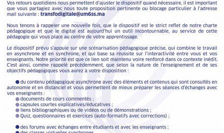 COMMUNIQUE DE LA PRESIDENCE DU 19 Mars 2020 A L'ATTENTION DES ETUDIANTS DE L'UM6SS