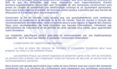 COMMUNIQUE DE LA PRESIDENCE DU 22 AVRIL 2020 A L'ATTENTION DES ETUDIANTS DE L'UM6SS