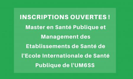 Inscriptions ouvertes au Master en Santé Publique et Management des Etablissements de Santé de l'Ecole Internationale de Santé Publique de l'UM6SS