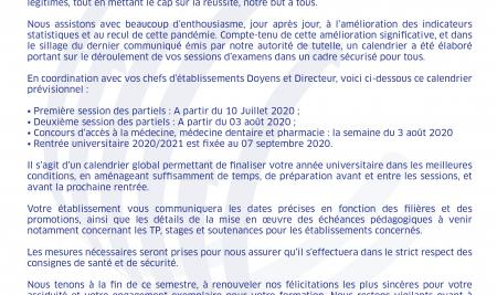 COMMUNIQUE DU 03 JUIN 2020 A L'ATTENTION DES ETUDIANTS DE L'UM6SS